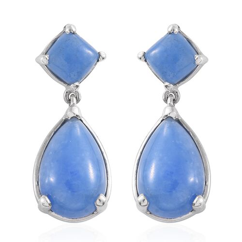 Blue Jade (Pear) Earrings (with Push Back) in Platinum Overlay Sterling Silver 13.250 Ct.