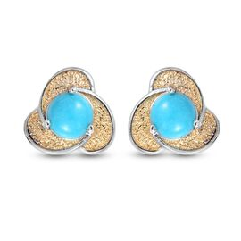 Sleeping Beauty Turquoise Solitaire Stud Push Post Earring  Sterling Silver 1.00 ct  1.000  Ct.