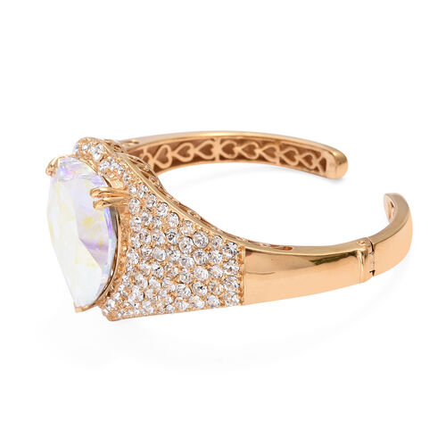 J Francis -Crystal from Swarovski AB Crystal (Hrt 28 mm), White Crystal Bangle (Size 7.5) in 14K Gold Overlay Sterling Silver, Silver wt 40.00 Gms