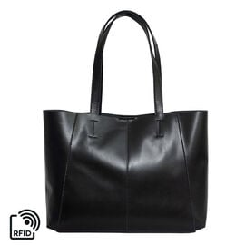 ASSOTS LONDON 2 Piece Set - ADELA Genuine Smooth Leather Tote Bag (31x9.5x26.5cm) & Matching RFID FA