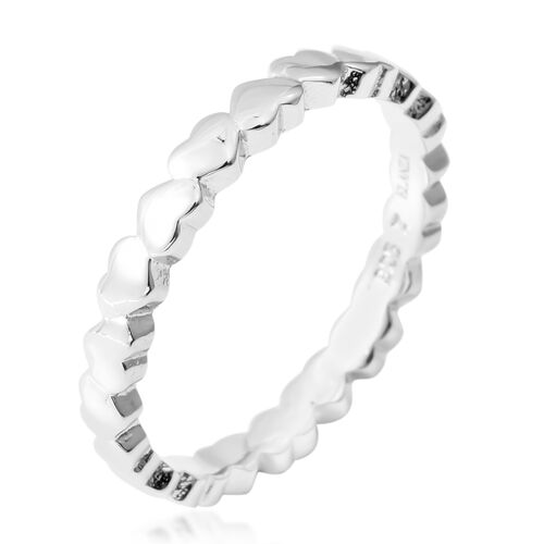 Designer Inspired- Rhodium Overlay Sterling Silver Heart Band Ring