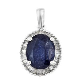 Premium Collection - Designer Inspired Rare Size Masoala Sapphire (Ovl 11x9 mm), Diamond Pendant in Platinum Overlay Sterling Silver 4.750 Ct.