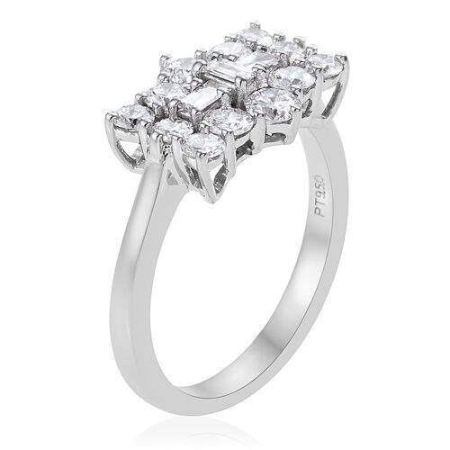 RHAPSODY 950 Platinum IGI Certified Diamond (Rnd) (VS/E-F) Boat Cluster Ring 1.000 Ct., Platinum wt 5.00 Gms.