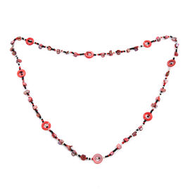One Time Deal- Coral Colour Beads Necklace (Size 46)