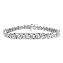 One Off Deal - 9K White Gold 3 Carat Diamond Bracelet I3/G-H, Size 7.5 Gold Wt 13.00 Grams