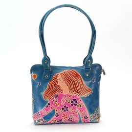 Contemporary Art Collection100% Genuine Leather Summer Breeze Hand Painting Shoulder Bag (Size 32.5x
