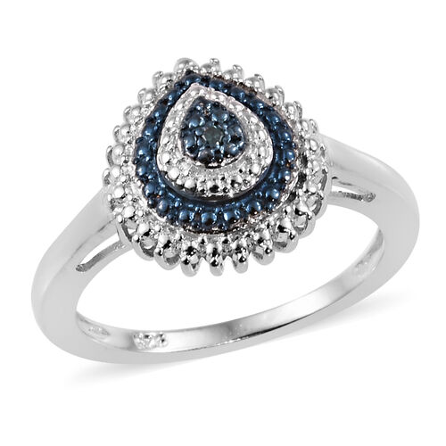 Blue Diamond Cluster Ring in Platinum and Blue Plated Sterling Silver