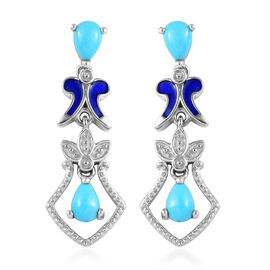 1.33 Ct Arizona Sleeping Beauty Turquoise Enamelled Drop Earrings in Platinum Plated Silver