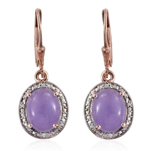 Purple Jade (Ovl), Natural Cambodian Zircon Lever Back Earrings in Rose Gold Overlay Sterling Silver 5.770 Ct.