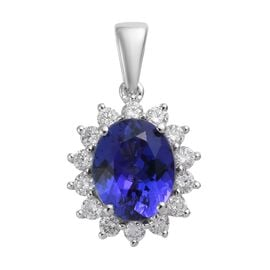 RHAPSODY 4.85 Ct AAAA Tanzanite and Diamond Halo Pendant in 950 Platinum 3 Grams