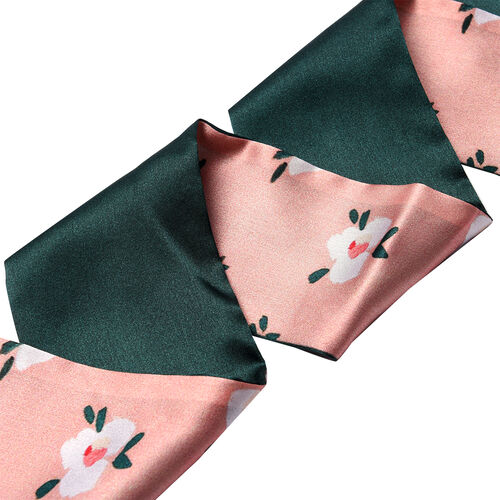 Flower Pattern 100% Mulberry Silk Satin Belt (Size 260 Cm) - Green, Pink and White