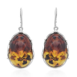 Natural Baltic Amber Lever Back Earrings in Sterling Silver, Silver wt 14.00 Gms