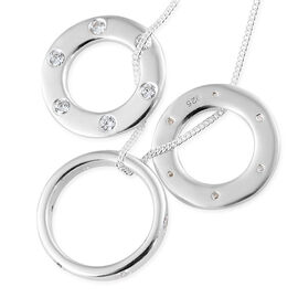 J Francis - Platinum Overlay Sterling Silver (Rnd) Circle Pendant With Chain (Size 18) Made With SWAROVSKI ZIRCONIA, Silver wt 7.38 Gms.
