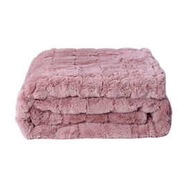 Serenity Night Jacquard Faux Fur Sherpa Blanket (150x200cm) - Dusky Pink