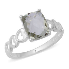 Prasiolite (Cush) Ring in Sterling Silver 2.80 Ct.