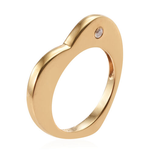 J Francis Made with Swarovski Zirconia Heart Ring in Gold Plated Sterling Silver