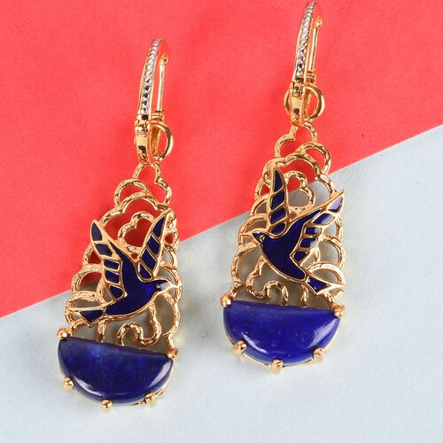GP - Lapis Lazuli, Blue Sapphire Enamelled Bird Hoop Earrings (with Detachable Clasp) in 14K Gold Overlay Sterling Silver 12.250 Ct. Silver wt 10.44 Gms.