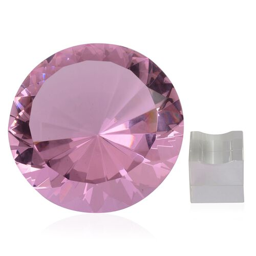 Diamond Cut Pink Glass Crystal with Stand (20cms) in a Gift Box
