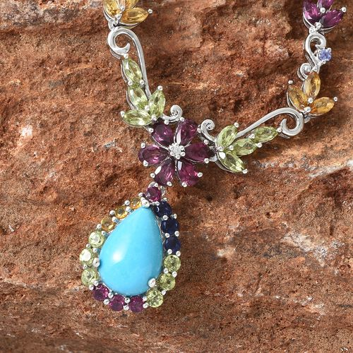 Arizona Sleeping Beauty Turquoise (Pear 4.50 Ct), Rhodolite Garnet and Multi Gemstone Necklace (Size 18 with 2 inch Extender) in Platinum Overlay Sterling Silver 10.760 Ct. Silver wt 10.42 Gms.