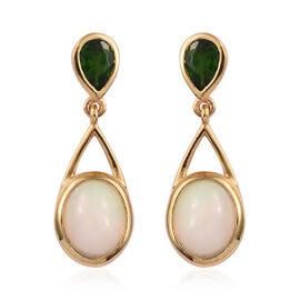3.25 Ct Ethiopian Opal and Russian Diopside Drop Earrings in Gold Plated Sterling Silver