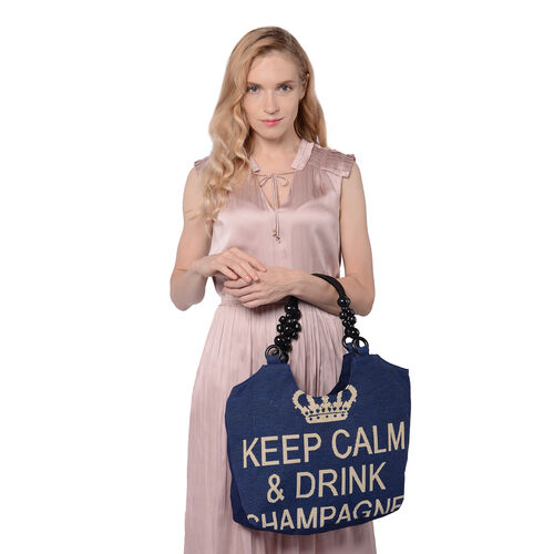 Keep Calm Quote Pattern Jute Handbag (38x11x29cm) - Navy