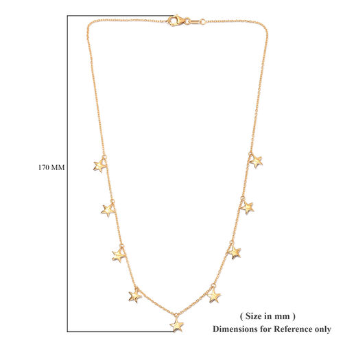 14K Gold Overlay Sterling Silver Star Station Necklace (Size 18), Silver wt. 6.18 Gms