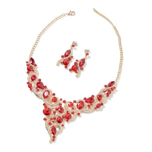 2 Piece Set - Simulated Red Garnet, Red and White Austrian Crystal Necklace (Size 18 with 3 inch Ext