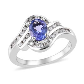 1.25 Ct Tanzanite and Zircon Halo Design Ring in Platinum Plated Sterling Silver
