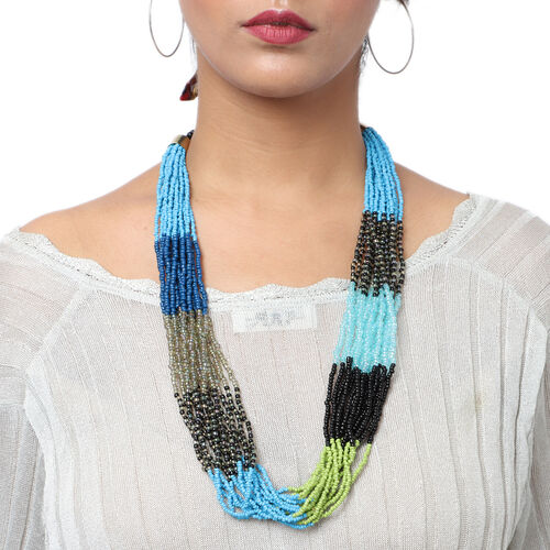 Designer Inspired- Blue and Multi Colour Long Beaded Necklace (Size 30 with Extender)