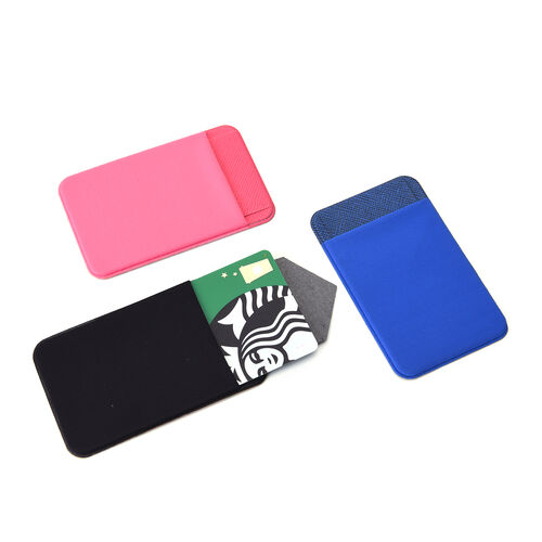 Set of 3 - Adhesive Stick On Wallet Card Holder Sleeve for Smartphones (Pink, Navy and Black)