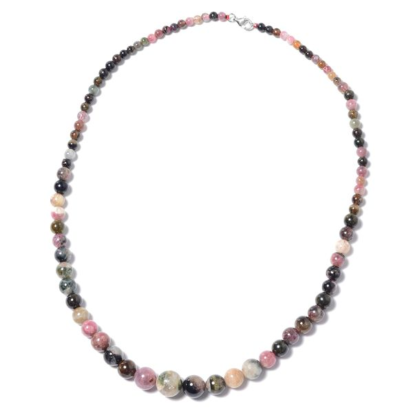 140 Ct Multi Tourmaline Beaded Necklace in Rhodium Plated Sterling Silver Size 18 Inch