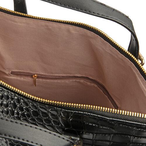 Premium Collection-Black Colour Crocodile Pattern Tote Bag with Removable Shoulder Strap (Size 35.5x30x13 Cm)