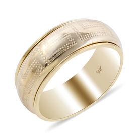 Italian Made - 9K Yellow Gold Greek Key Band Ring. Gold Wt 2.60 Gms