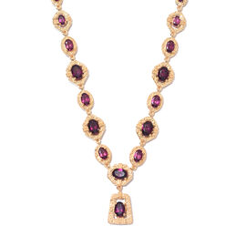 Rhodolite Garnet Necklace (Size 18 with 2 inch Extender) in 14K Gold Overlay Sterling Silver 12.50 C