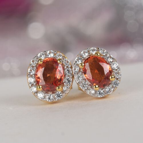 Red Sapphire and Natural Cambodian Zircon Halo Stud Earrings (with Push Back) in 14K Gold Overlay Sterling Silver 1.25 Ct.