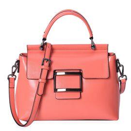 100% Genuine Leather Coral Colour Bag (Size 26x10x20.5 Cm) with Detachable Shoulder Strap (113 Cm) a