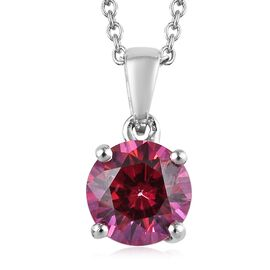 J Francis - Platinum Overlay Sterling Silver (Rnd) Pendant With Chain (Size 18) Made with Red SWAROV