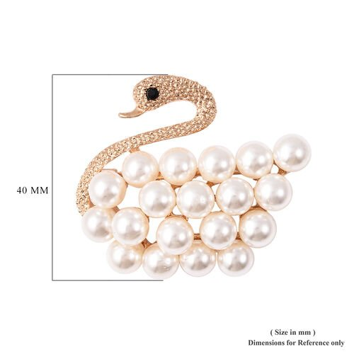 Simulated Pearl and Black Austrian Crystal Swan Brooch in Yellow Gold Tone