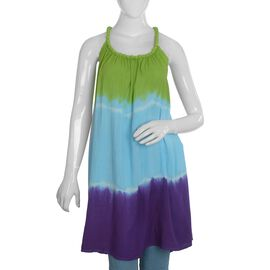 Designer Inspired- Spaghetti Strap Ombre Dress - Green and Multi Colour