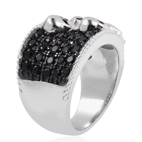 Halloween Collection- Boi Ploi Black Spinel (Rnd) Ring in Rhodium Black Overlay With Enameled Sterling Silver 2.350 Ct, Silver wt 10.07 Gms.