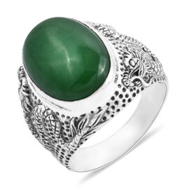Royal Bali 13.80 Ct Green Jade Dragon Solitaire Ring in Silver 9.20 Grams