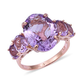 10.77 Ct Rose De France Amethyst 5 Stone Ring in Sterling Silver 4.5 Grams