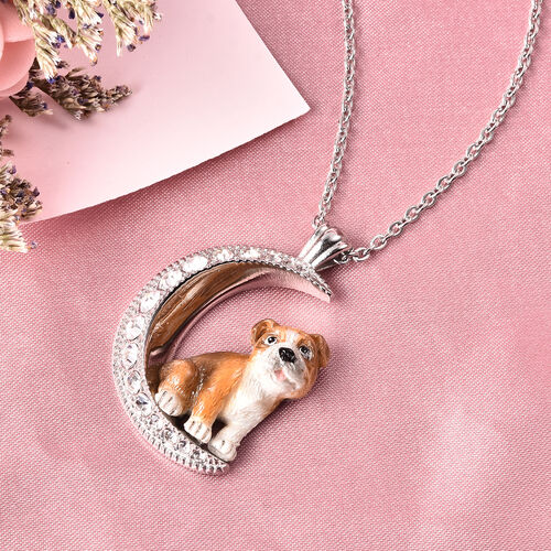 White Austrian Crystal Engraved Moon and Enamelled Bulldog Pendant with Chain (Size 20) in Stainless Steel
