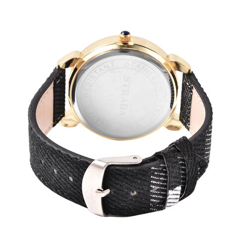 STRADA Japanese Movement Watch with Black Strap and Gold Tone Dial