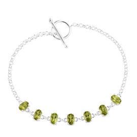 Hebei Peridot (Ovl) Bracelet (Size 7.5 Adjustable) in Sterling Silver 3.50 Ct, Silver wt 4.70 Gms.
