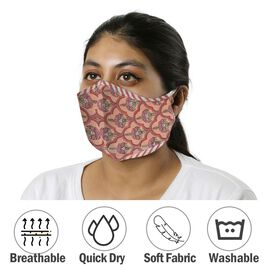 2 Piece Set - 100% Cotton Hand Block Print Double Layer Reusable Face Cover - Red and White
