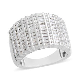 Diamond (Rnd and Bgt) Ring in Platinum Overlay Sterling Silver 1.000 Ct. Silver wt 9.03 Gms. Number