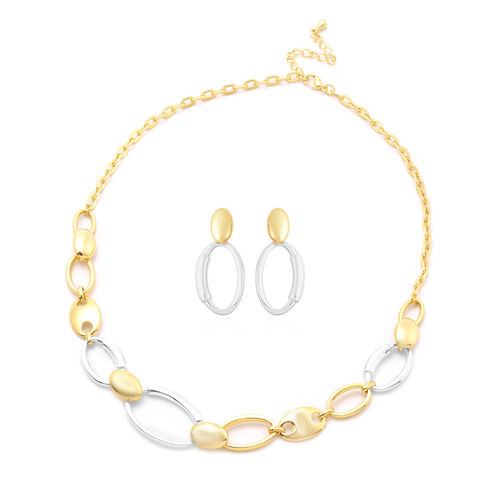 2 Piece Set - Earrings (with Push Back) and Necklace (Size 20 with 2 inch Extender) in Dual Tone