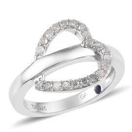 GP 0.35 Ct Diamond and Blue Sapphire Heart Ring in Platinum Plated Silver