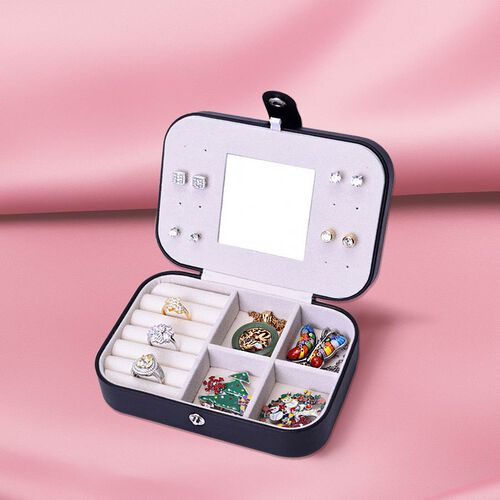 Portable and Lightweight Jewellery Organiser with Button Closure and Inside Mirror in Black Colour (